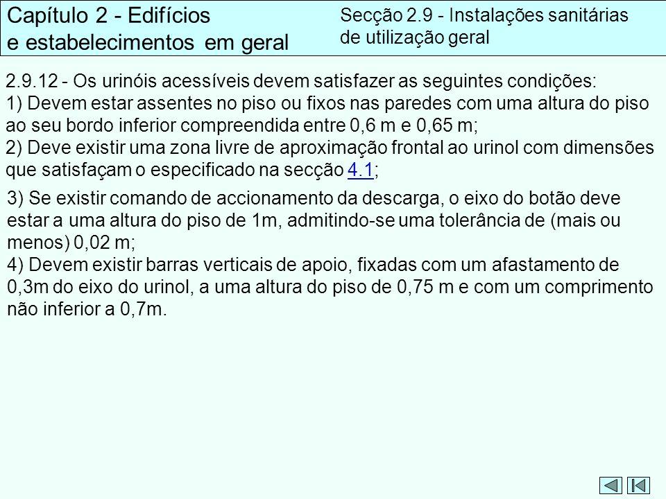 2.9.12 - Os urinóis acessíveis devem satisfazer as seguintes condições: 1) Devem estar assentes no piso ou fixos nas paredes com uma altura do piso ao