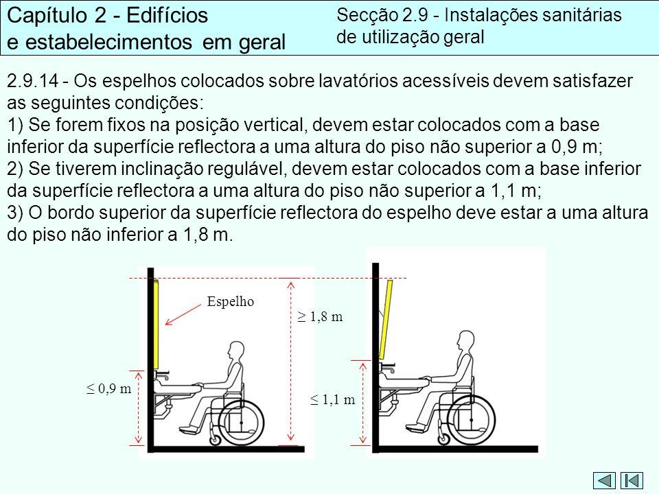2.9.14 - Os espelhos colocados sobre lavatórios acessíveis devem satisfazer as seguintes condições: 1) Se forem fixos na posição vertical, devem estar