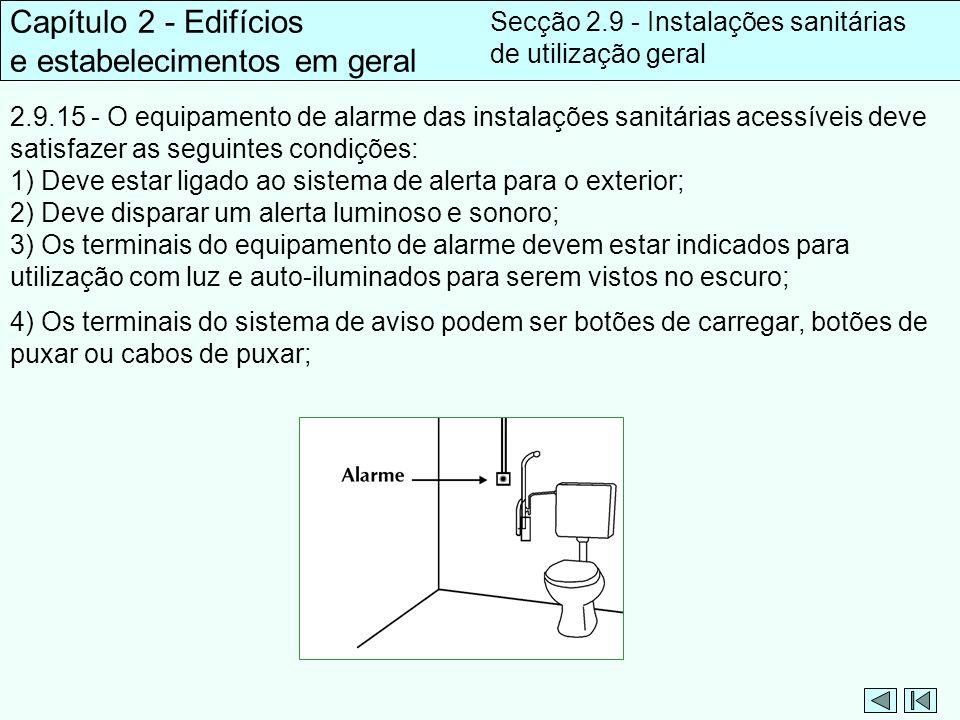 2.9.15 - O equipamento de alarme das instalações sanitárias acessíveis deve satisfazer as seguintes condições: 1) Deve estar ligado ao sistema de aler