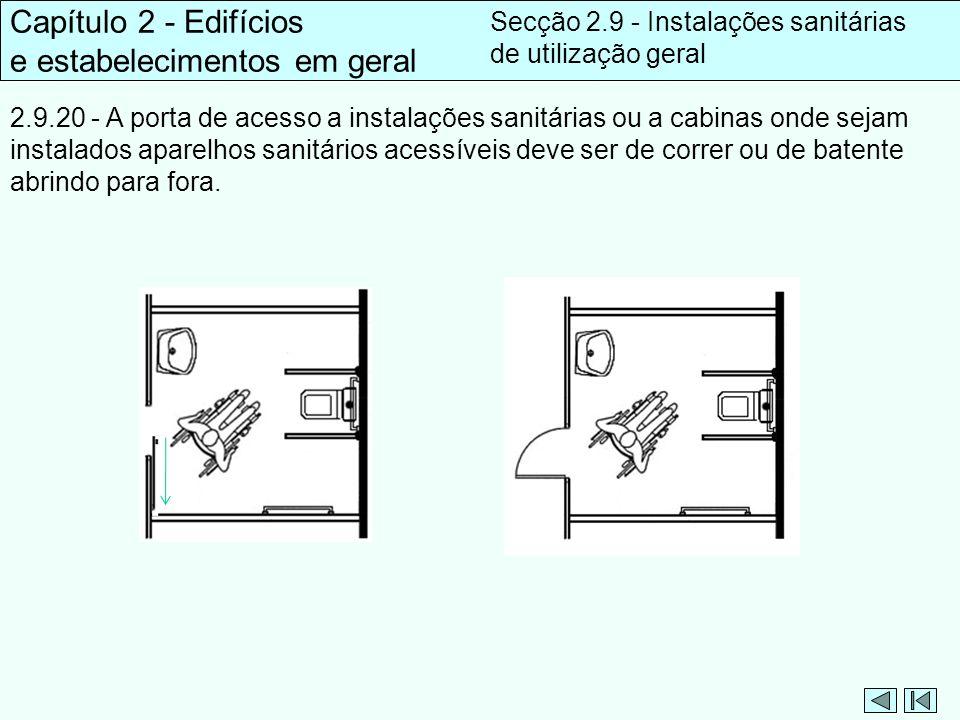 2.9.20 - A porta de acesso a instalações sanitárias ou a cabinas onde sejam instalados aparelhos sanitários acessíveis deve ser de correr ou de batent