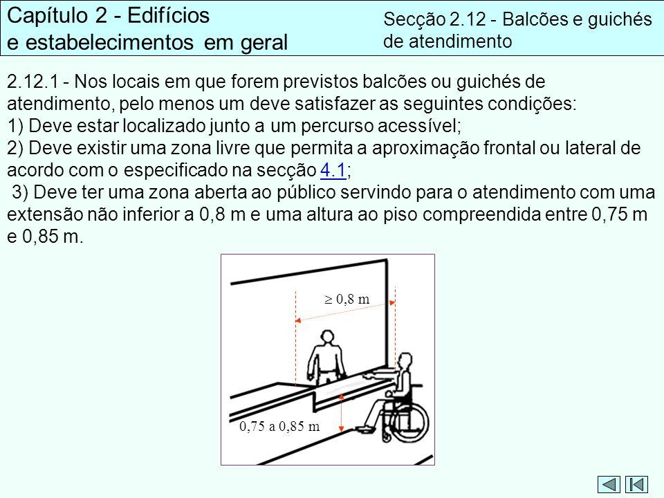 Capítulo 2 - Edifícios e estabelecimentos em geral Secção 2.12 - Balcões e guichés de atendimento 2.12.1 - Nos locais em que forem previstos balcões o