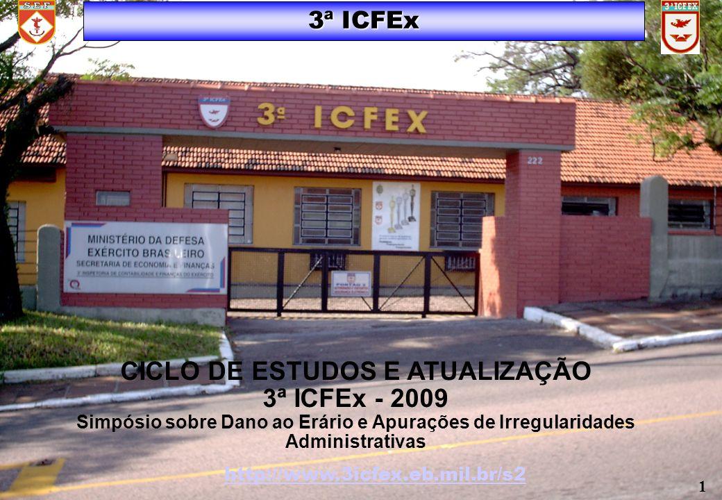 3ª ICFEx http://www.3icfex.eb.mil.br/s2 1 CICLO DE ESTUDOS E ATUALIZAÇÃO 3ª ICFEx - 2009 Simpósio sobre Dano ao Erário e Apurações de Irregularidades