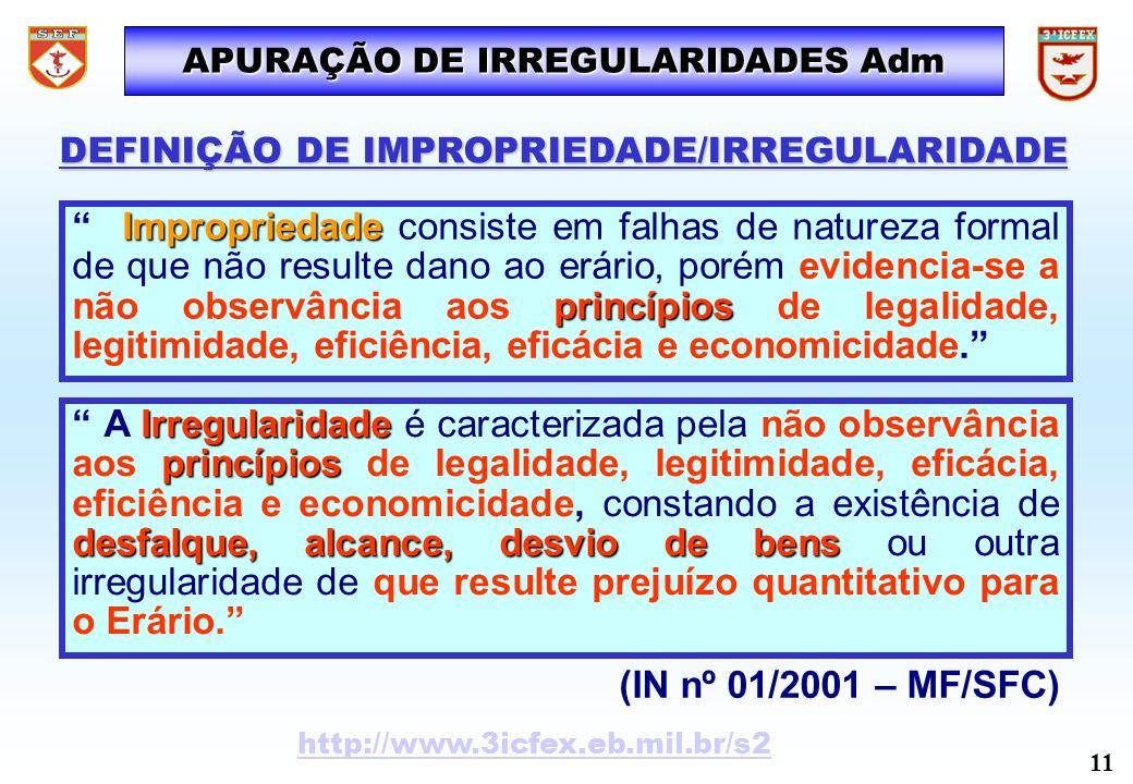 Irregularidade princípios desfalque, alcance, desvio de bens A Irregularidade é caracterizada pela não observância aos princípios de legalidade, legit