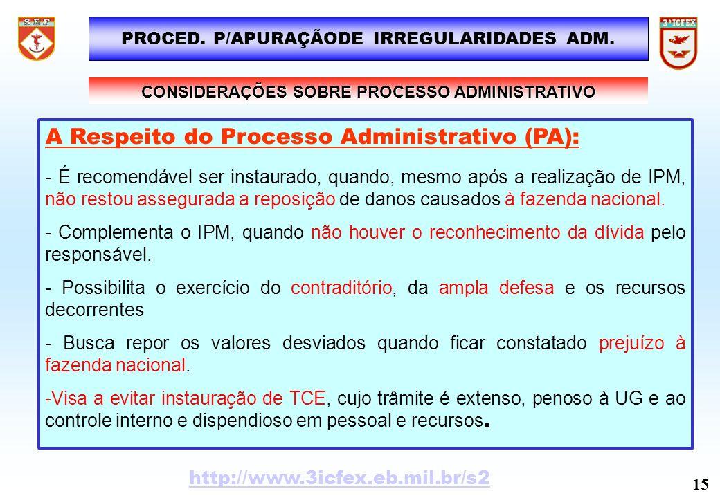 PROCED. P/APURAÇÃODE IRREGULARIDADES ADM. A Respeito do Processo Administrativo (PA): - É recomendável ser instaurado, quando, mesmo após a realização