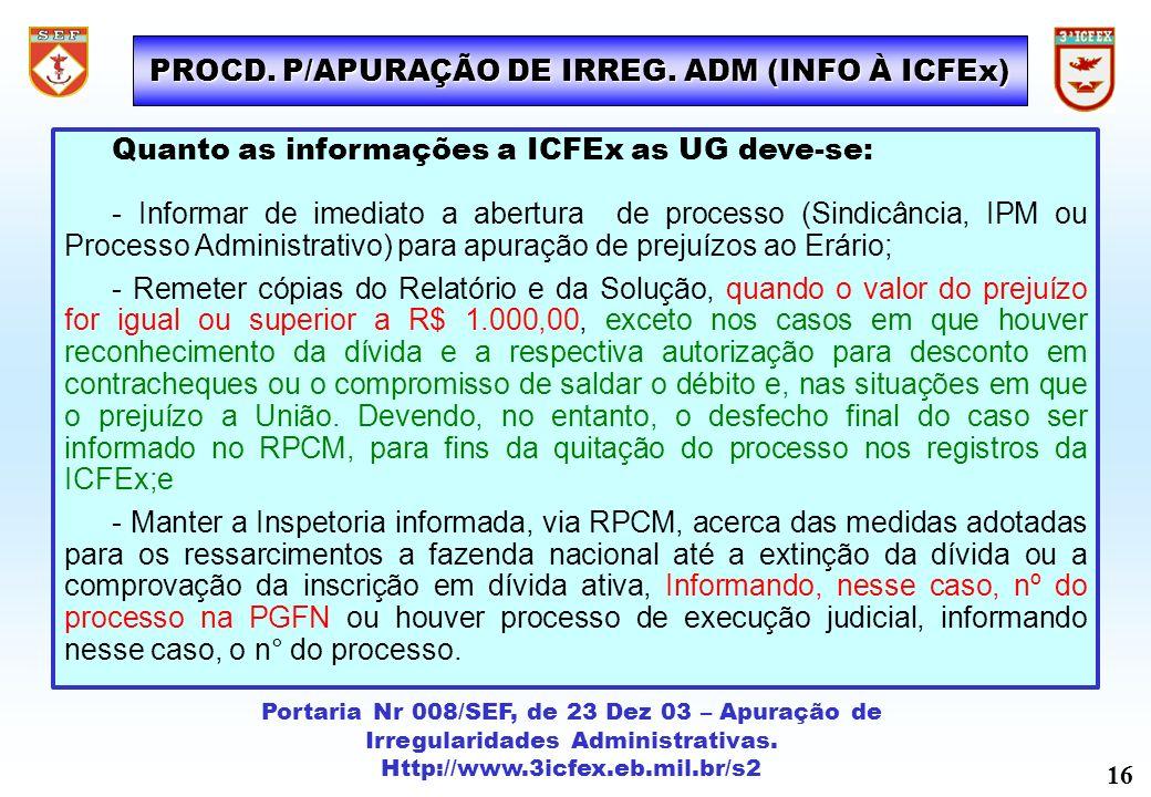 Portaria Nr 008/SEF, de 23 Dez 03 – Apuração de Irregularidades Administrativas. Http://www.3icfex.eb.mil.br/s2 Quanto as informações a ICFEx as UG de