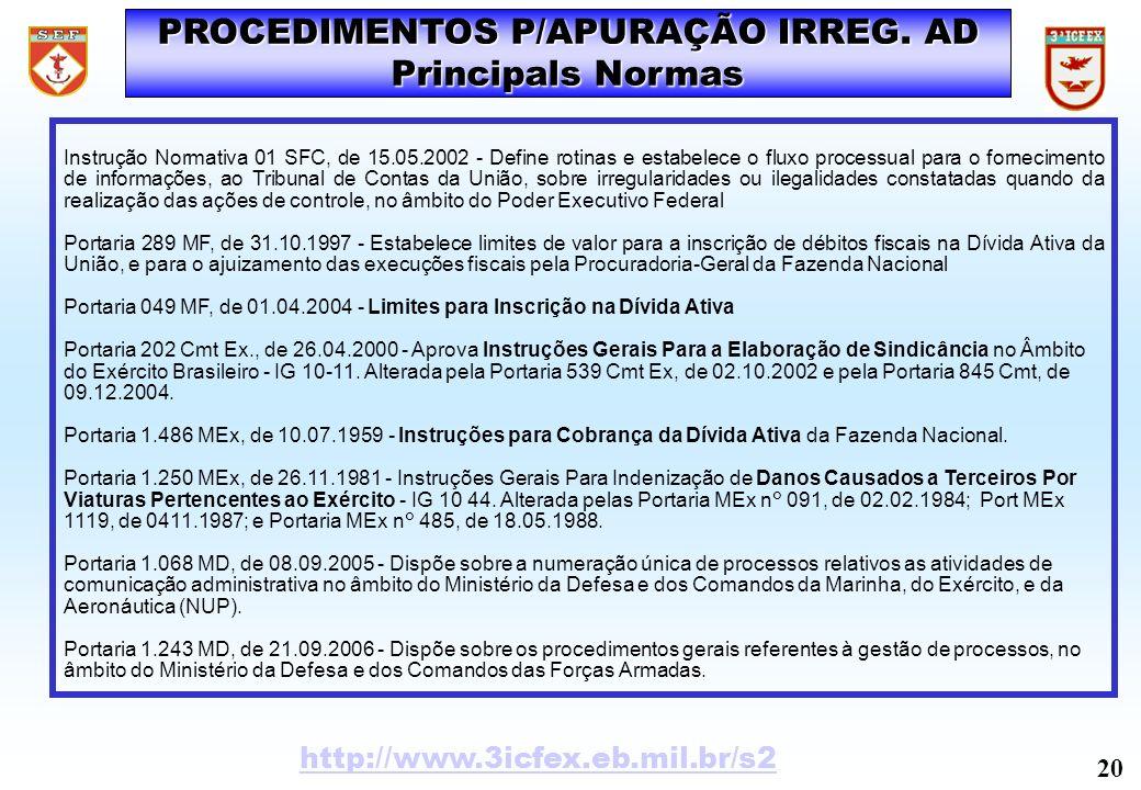 PROCEDIMENTOS P/APURAÇÃO IRREG. AD Principals Normas Instrução Normativa 01 SFC, de 15.05.2002 - Define rotinas e estabelece o fluxo processual para o