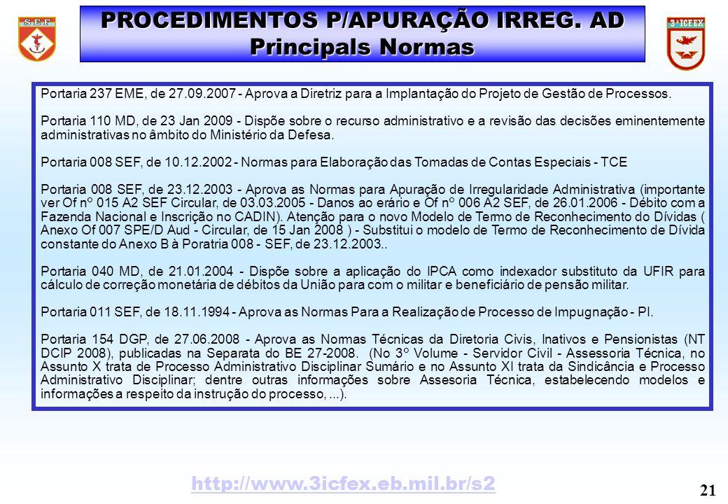 PROCEDIMENTOS P/APURAÇÃO IRREG. AD Principals Normas Portaria 237 EME, de 27.09.2007 - Aprova a Diretriz para a Implantação do Projeto de Gestão de Pr