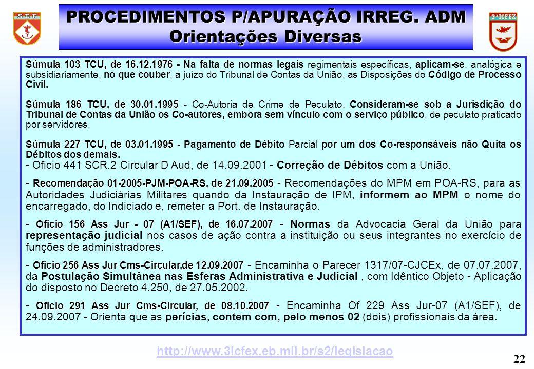 PROCEDIMENTOS P/APURAÇÃO IRREG. ADM Orientações Diversas Súmula 103 TCU, de 16.12.1976 - Súmula 103 TCU, de 16.12.1976 - Na falta de normas legais reg