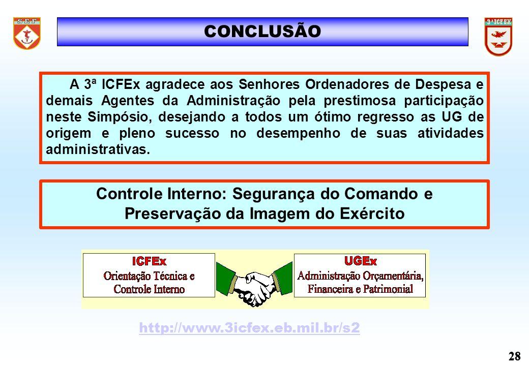 CONCLUSÃO Controle Interno: Segurança do Comando e Preservação da Imagem do Exército http://www.3icfex.eb.mil.br/s2 28 A 3ª ICFEx agradece aos Senhore