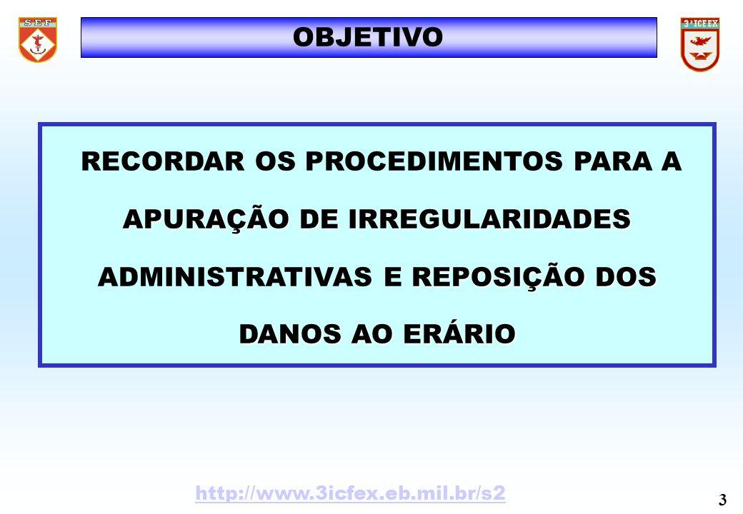 SUMÁRIO INTRODUÇÃODESENVOLVIMENTO SISTEMAS DE CONTROLE (Base Legal) SISTEMAS DE CONTROLE (Base Legal) ESTATÍSTICAS ESTATÍSTICAS CONCEITOS BÁSICOS (Impropriedade e Irregularidade) CONCEITOS BÁSICOS (Impropriedade e Irregularidade) PRINCIPAIS IMPROPRIEDADES/IRREGULARIDADES PRINCIPAIS IMPROPRIEDADES/IRREGULARIDADES APURAÇÃO DE IRREGULARIDADES ADMINISTRATIVAS APURAÇÃO DE IRREGULARIDADES ADMINISTRATIVASCONCLUSÃO http://www.3icfex.eb.mil.br/s2 4