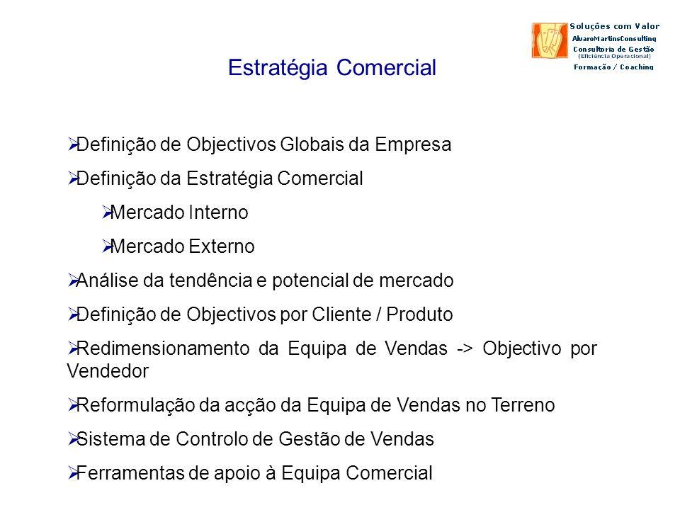 Estratégia Comercial Definição de Objectivos Globais da Empresa Definição da Estratégia Comercial Mercado Interno Mercado Externo Análise da tendência e potencial de mercado Definição de Objectivos por Cliente / Produto Redimensionamento da Equipa de Vendas -> Objectivo por Vendedor Reformulação da acção da Equipa de Vendas no Terreno Sistema de Controlo de Gestão de Vendas Ferramentas de apoio à Equipa Comercial