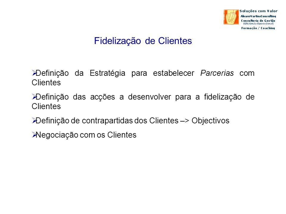 Fidelização de Clientes Definição da Estratégia para estabelecer Parcerias com Clientes Definição das acções a desenvolver para a fidelização de Clientes Definição de contrapartidas dos Clientes –> Objectivos Negociação com os Clientes
