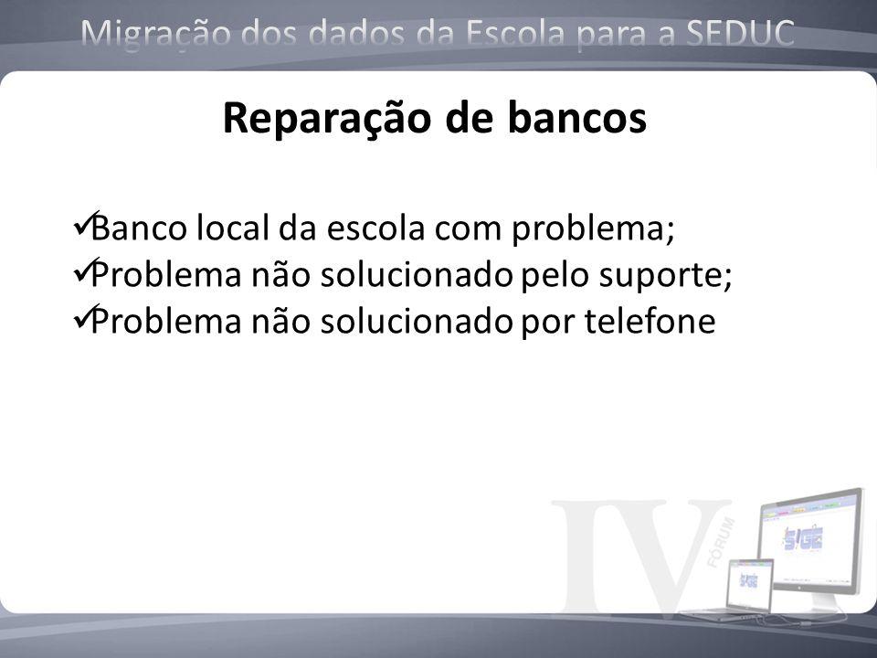 Reparação de bancos Banco local da escola com problema; Problema não solucionado pelo suporte; Problema não solucionado por telefone