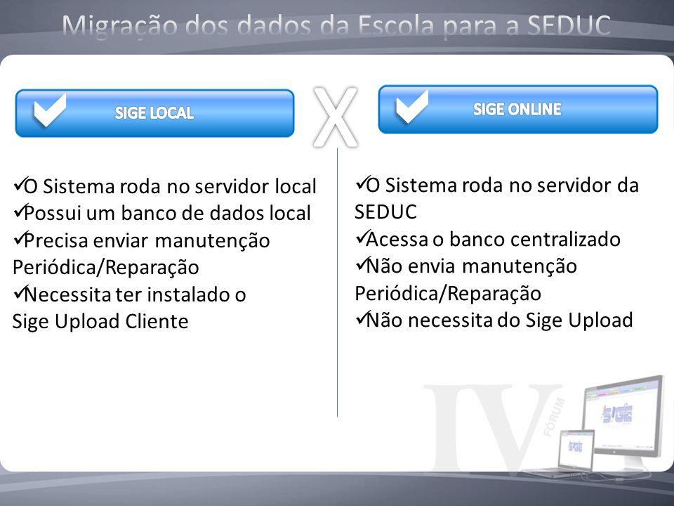 O Sistema roda no servidor local Possui um banco de dados local Precisa enviar manutenção Periódica/Reparação Necessita ter instalado o Sige Upload Cl