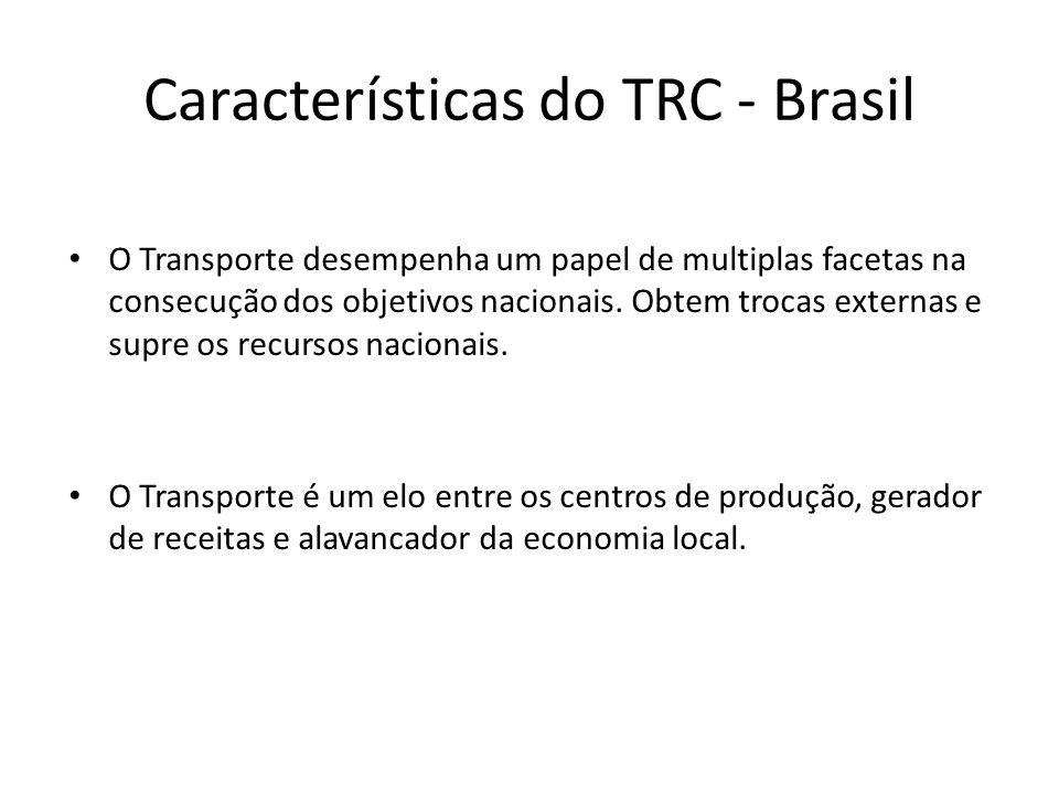 Características do TRC - Brasil O Transporte desempenha um papel de multiplas facetas na consecução dos objetivos nacionais. Obtem trocas externas e s