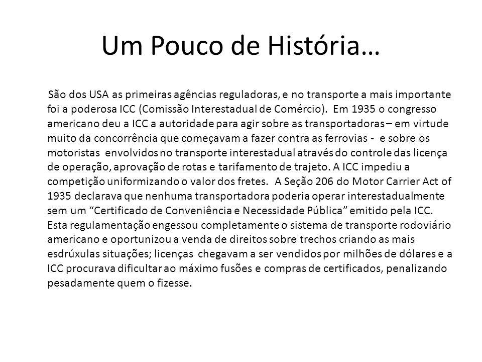 Um Pouco de História… São dos USA as primeiras agências reguladoras, e no transporte a mais importante foi a poderosa ICC (Comissão Interestadual de C