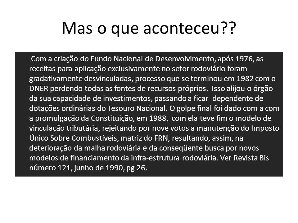 Mas o que aconteceu?? Com a criação do Fundo Nacional de Desenvolvimento, após 1976, as receitas para aplicação exclusivamente no setor rodoviário for