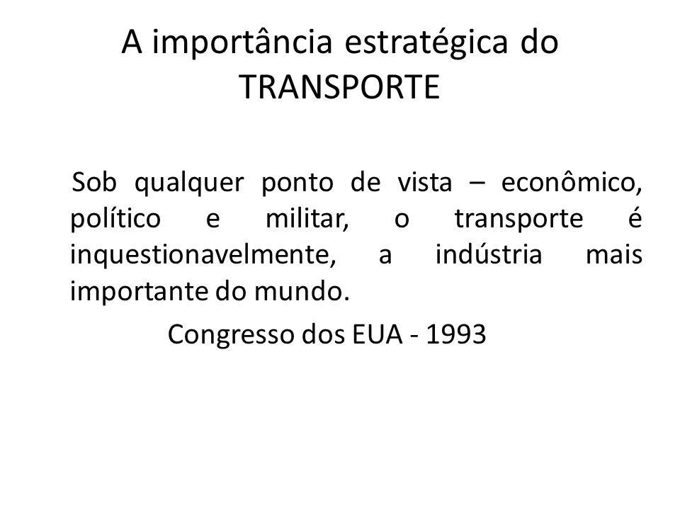 A importância estratégica do TRANSPORTE Sob qualquer ponto de vista – econômico, político e militar, o transporte é inquestionavelmente, a indústria m