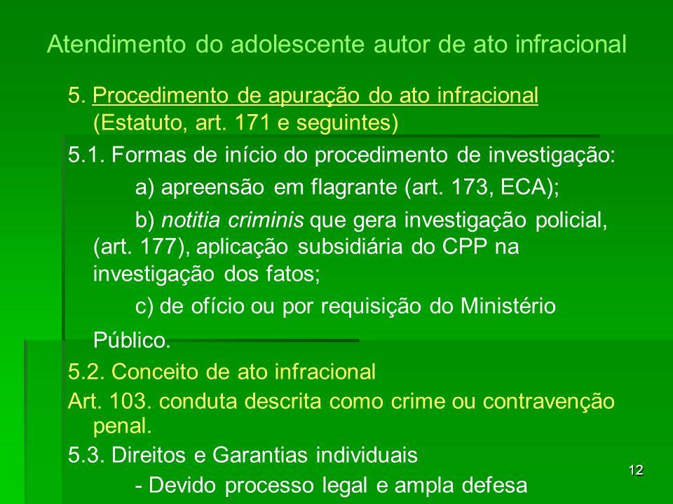 12 5. Procedimento de apuração do ato infracional (Estatuto, art. 171 e seguintes) 5.1. Formas de início do procedimento de investigação: a) apreensão
