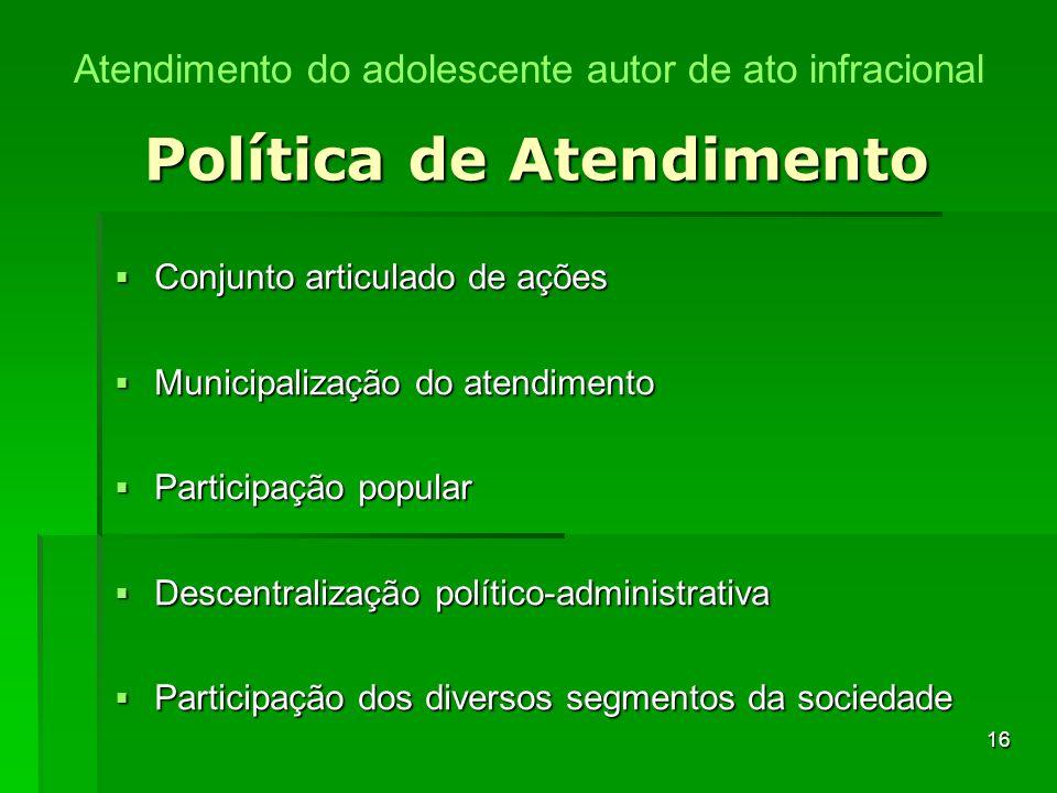 16 Política de Atendimento Conjunto articulado de ações Conjunto articulado de ações Municipalização do atendimento Municipalização do atendimento Par