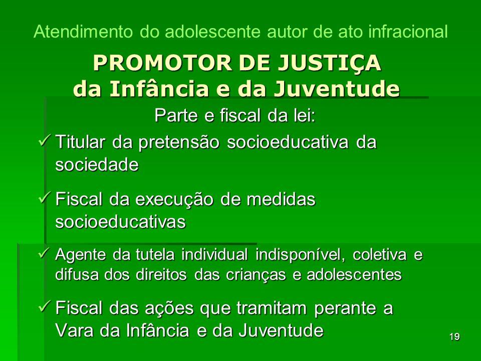 19 PROMOTOR DE JUSTIÇA da Infância e da Juventude Parte e fiscal da lei: Titular da pretensão socioeducativa da sociedade Titular da pretensão socioed