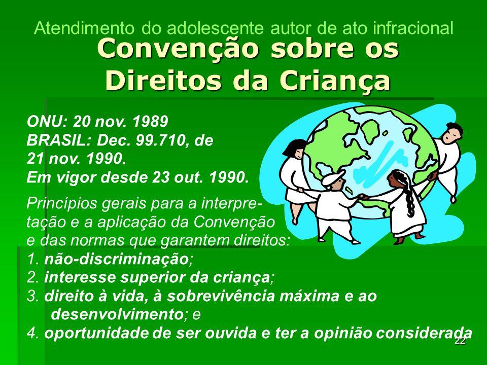 22 Convenção sobre os Direitos da Criança ONU: 20 nov. 1989 BRASIL: Dec. 99.710, de 21 nov. 1990. Em vigor desde 23 out. 1990. Princípios gerais para