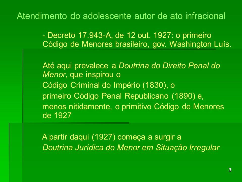 3 - Decreto 17.943-A, de 12 out. 1927: o primeiro Código de Menores brasileiro, gov. Washington Luís. Até aqui prevalece a Doutrina do Direito Penal d