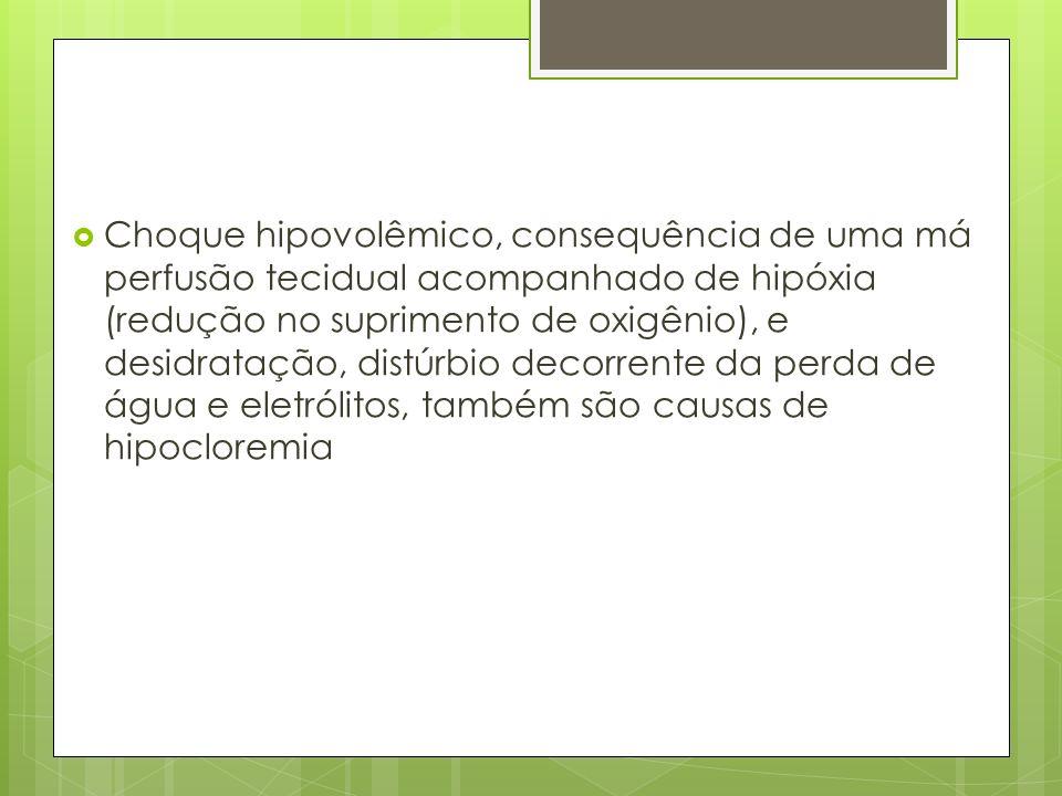 Choque hipovolêmico, consequência de uma má perfusão tecidual acompanhado de hipóxia (redução no suprimento de oxigênio), e desidratação, distúrbio de