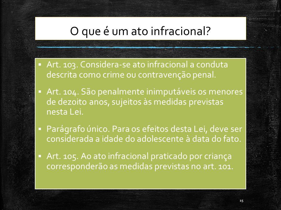 O que é um ato infracional? Art. 103. Considera-se ato infracional a conduta descrita como crime ou contravenção penal. Art. 104. São penalmente inimp