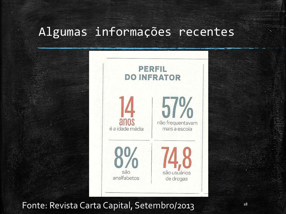 Algumas informações recentes Fonte: Revista Carta Capital, Setembro/2013 18