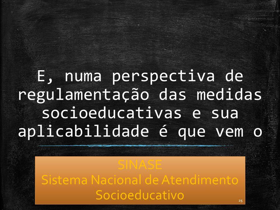E, numa perspectiva de regulamentação das medidas socioeducativas e sua aplicabilidade é que vem o SINASE Sistema Nacional de Atendimento Socioeducati