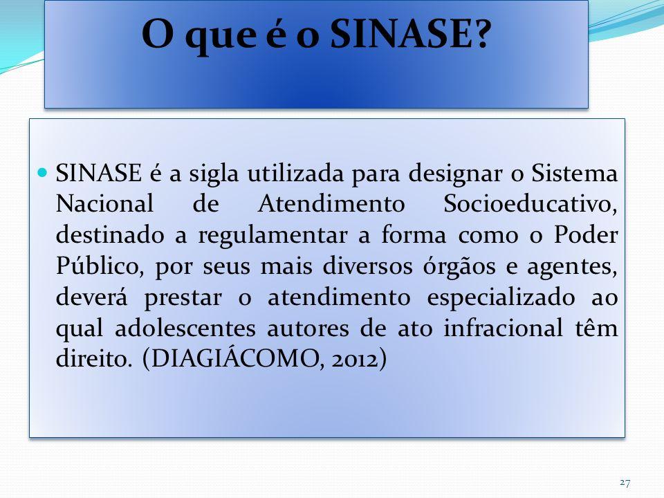 O que é o SINASE? SINASE é a sigla utilizada para designar o Sistema Nacional de Atendimento Socioeducativo, destinado a regulamentar a forma como o P