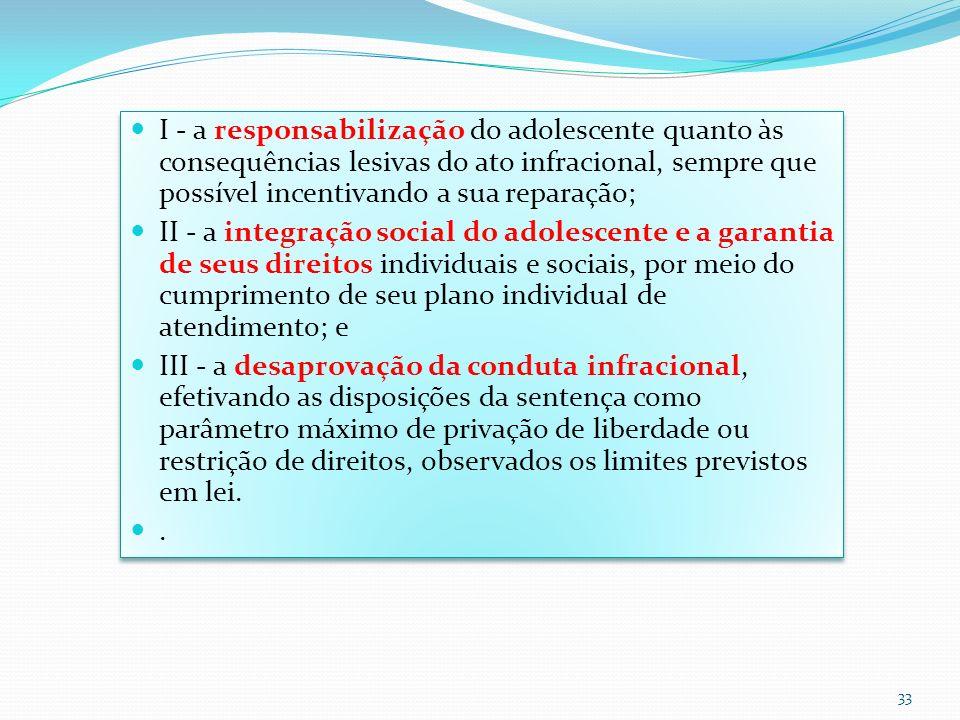 I - a responsabilização do adolescente quanto às consequências lesivas do ato infracional, sempre que possível incentivando a sua reparação; II - a in