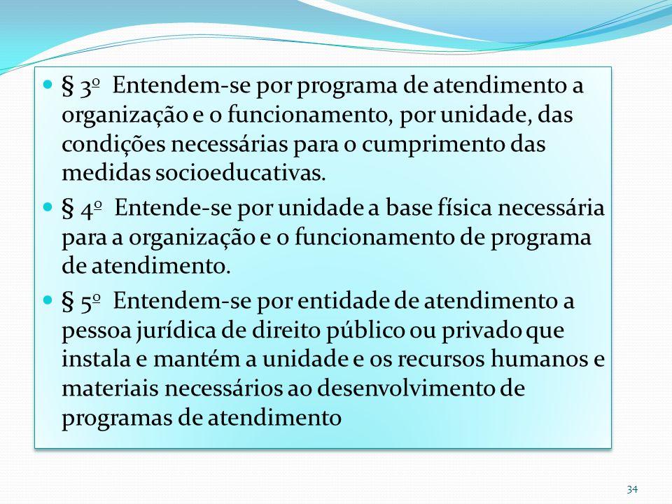 § 3 o Entendem-se por programa de atendimento a organização e o funcionamento, por unidade, das condições necessárias para o cumprimento das medidas s