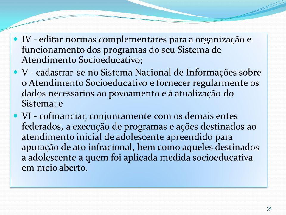 IV - editar normas complementares para a organização e funcionamento dos programas do seu Sistema de Atendimento Socioeducativo; V - cadastrar-se no S