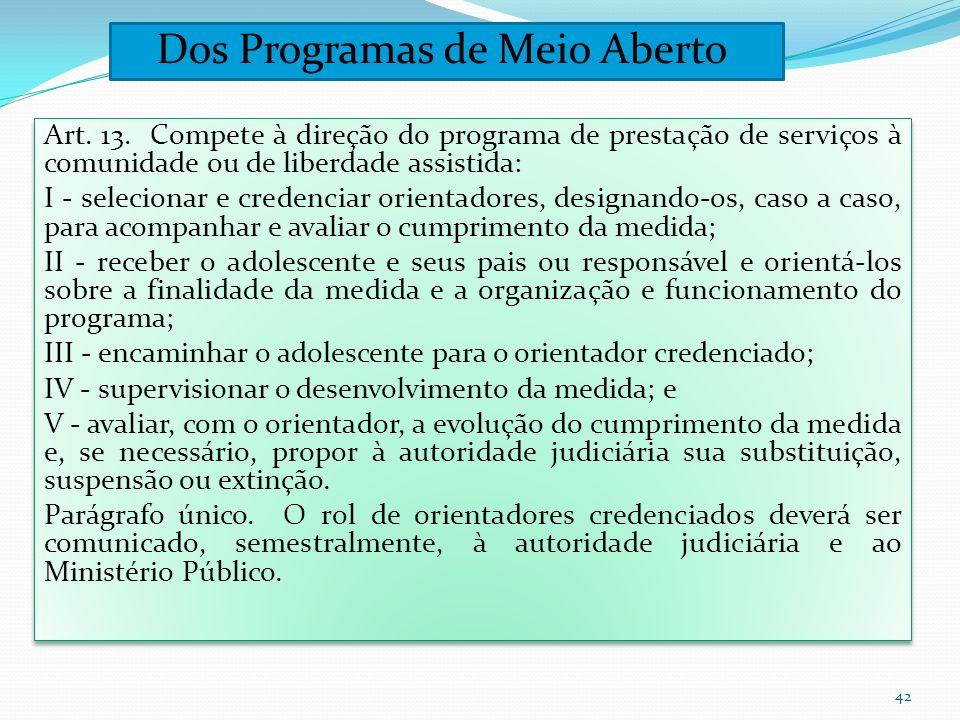 Art. 13. Compete à direção do programa de prestação de serviços à comunidade ou de liberdade assistida: I - selecionar e credenciar orientadores, desi
