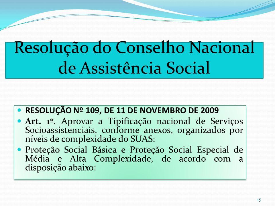 Resolução do Conselho Nacional de Assistência Social RESOLUÇÃO Nº 109, DE 11 DE NOVEMBRO DE 2009 Art. 1º. Aprovar a Tipificação nacional de Serviços S