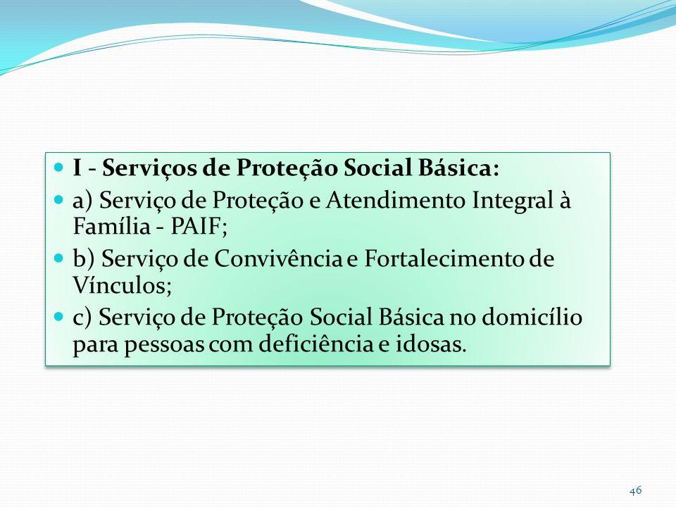 I - Serviços de Proteção Social Básica: a) Serviço de Proteção e Atendimento Integral à Família - PAIF; b) Serviço de Convivência e Fortalecimento de