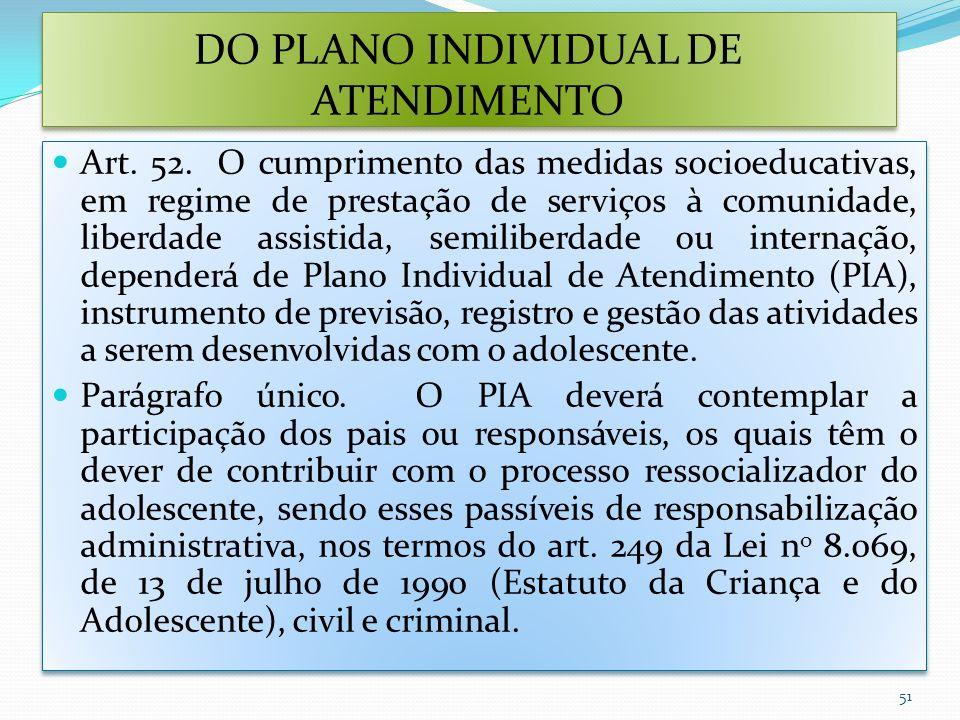 DO PLANO INDIVIDUAL DE ATENDIMENTO Art. 52. O cumprimento das medidas socioeducativas, em regime de prestação de serviços à comunidade, liberdade assi