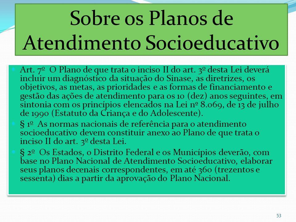 Sobre os Planos de Atendimento Socioeducativo Art. 7 o O Plano de que trata o inciso II do art. 3 o desta Lei deverá incluir um diagnóstico da situaçã