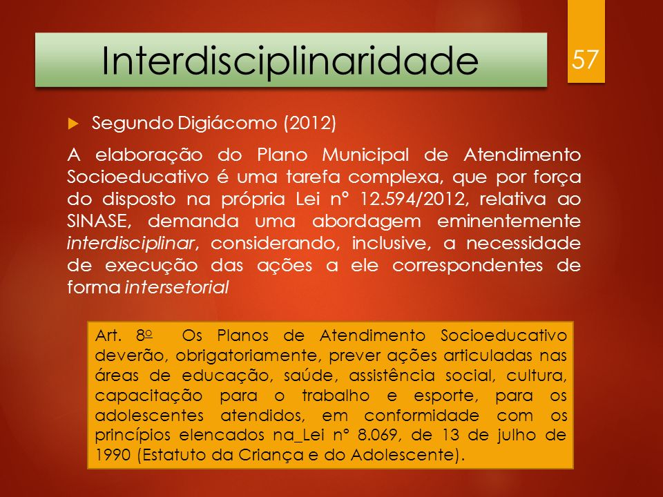 Interdisciplinaridade Segundo Digiácomo (2012) A elaboração do Plano Municipal de Atendimento Socioeducativo é uma tarefa complexa, que por força do d