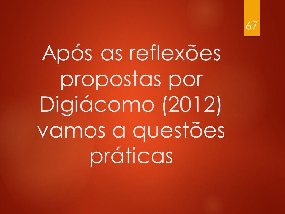 Após as reflexões propostas por Digiácomo (2012) vamos a questões práticas 67