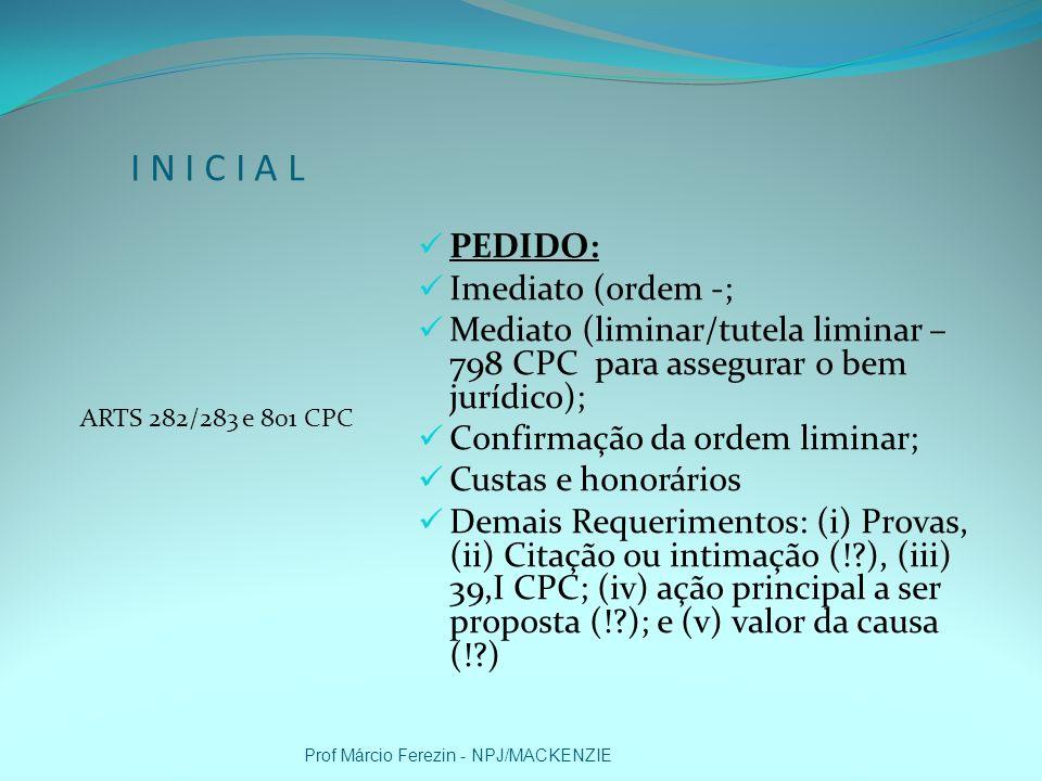 I N I C I A L 282/801 CPC VALOR DA CAUSA: Prof Márcio Ferezin - NPJ/MACKENZIE