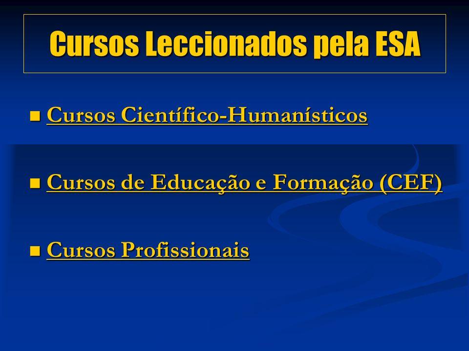 Cursos Leccionados pela ESA Cursos Científico-Humanísticos Cursos Científico-Humanísticos Cursos Científico-Humanísticos Cursos Científico-Humanísticos Cursos de Educação e Formação (CEF) Cursos de Educação e Formação (CEF) Cursos de Educação e Formação (CEF) Cursos de Educação e Formação (CEF) Cursos Profissionais Cursos Profissionais Cursos Profissionais Cursos Profissionais