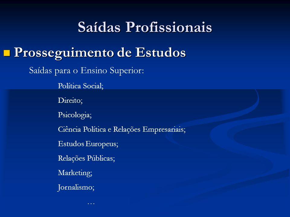 Saídas Profissionais Prosseguimento de Estudos Prosseguimento de Estudos Saídas para o Ensino Superior: Política Social; Direito; Psicologia; Ciência Política e Relações Empresariais; Estudos Europeus; Relações Públicas; Marketing; Jornalismo; …