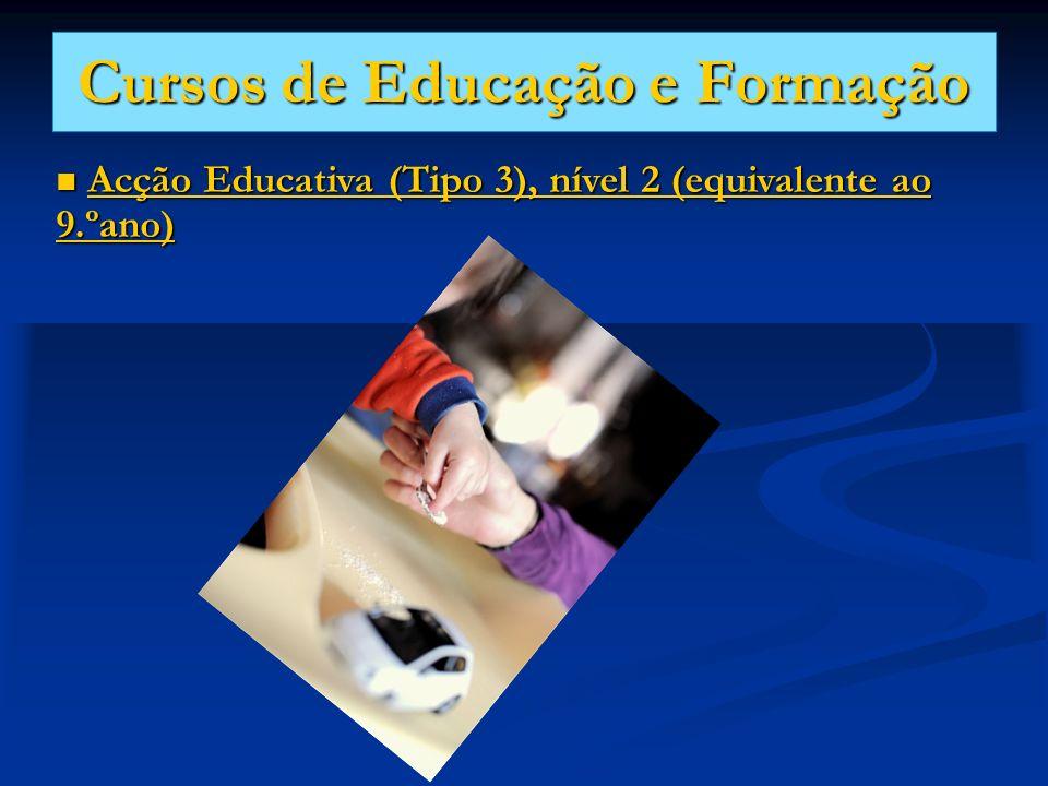 Cursos de Educação e Formação Acção Educativa (Tipo 3), nível 2 (equivalente ao 9.ºano) Acção Educativa (Tipo 3), nível 2 (equivalente ao 9.ºano)