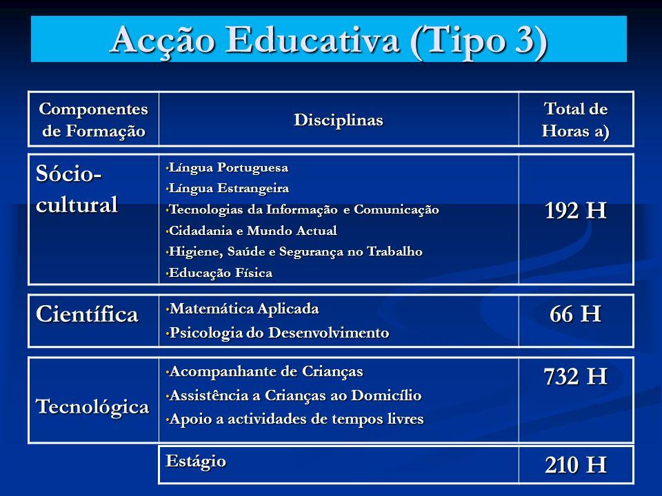 Acção Educativa (Tipo 3) Componentes de Formação Disciplinas Total de Horas a) Sócio- cultural Língua Portuguesa Língua Portuguesa Língua Estrangeira Língua Estrangeira Tecnologias da Informação e Comunicação Tecnologias da Informação e Comunicação Cidadania e Mundo Actual Cidadania e Mundo Actual Higiene, Saúde e Segurança no Trabalho Higiene, Saúde e Segurança no Trabalho Educação Física Educação Física 192 H Científica Matemática Aplicada Matemática Aplicada Psicologia do Desenvolvimento Psicologia do Desenvolvimento 66 H Tecnológica Acompanhante de Crianças Acompanhante de Crianças Assistência a Crianças ao Domicílio Assistência a Crianças ao Domicílio Apoio a actividades de tempos livres Apoio a actividades de tempos livres 732 H Estágio 210 H
