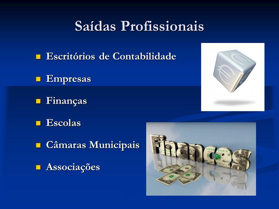 Saídas Profissionais Escritórios de Contabilidade Escritórios de Contabilidade Empresas Empresas Finanças Finanças Escolas Escolas Câmaras Municipais Câmaras Municipais Associações Associações