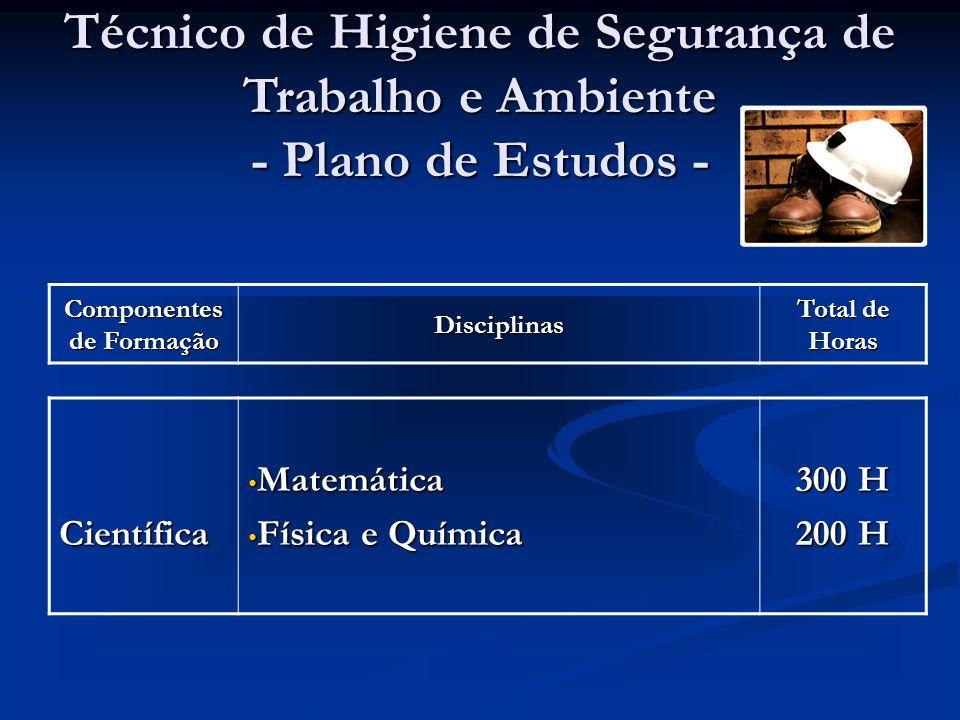 Componentes de Formação Disciplinas Total de Horas Técnico de Higiene de Segurança de Trabalho e Ambiente - Plano de Estudos - Científica Matemática Matemática Física e Química Física e Química 300 H 200 H