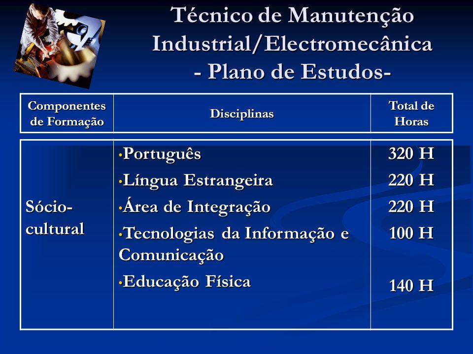 Técnico de Manutenção Industrial/Electromecânica - Plano de Estudos- Componentes de Formação Disciplinas Total de Horas Sócio- cultural Português Português Língua Estrangeira Língua Estrangeira Área de Integração Área de Integração Tecnologias da Informação e Comunicação Tecnologias da Informação e Comunicação Educação Física Educação Física 320 H 220 H 100 H 140 H
